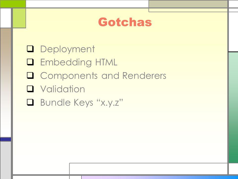 "Gotchas  Deployment  Embedding HTML  Components and Renderers  Validation  Bundle Keys ""x.y.z"""