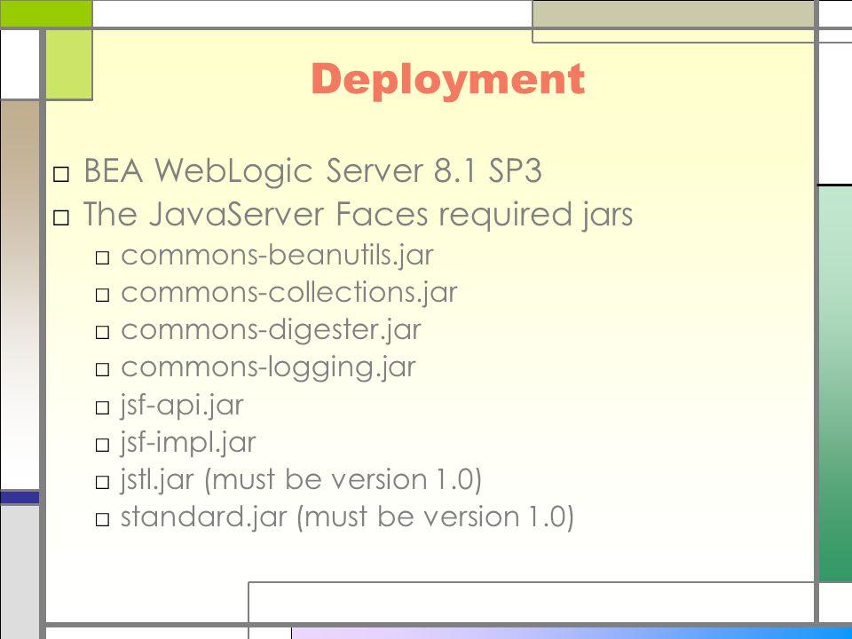 Deployment □BEA WebLogic Server 8.1 SP3 □The JavaServer Faces required jars □commons-beanutils.jar □commons-collections.jar □commons-digester.jar □commons-logging.jar □jsf-api.jar □jsf-impl.jar □jstl.jar (must be version 1.0) □standard.jar (must be version 1.0)