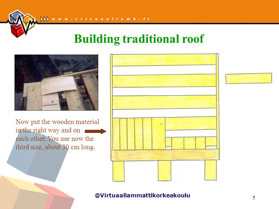 @Virtuaaliammattikorkeakoulu 5 Now put the wooden material in the right way and on each other.