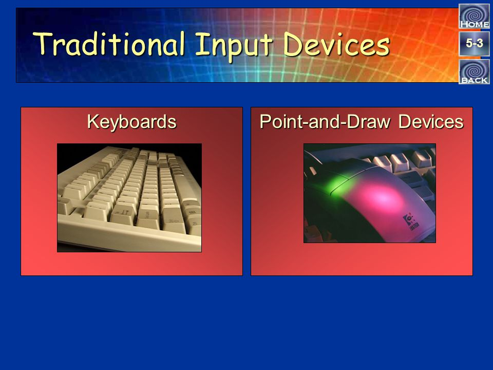 5-3 Traditional Input Devices Point-and-Draw Devices Keyboards