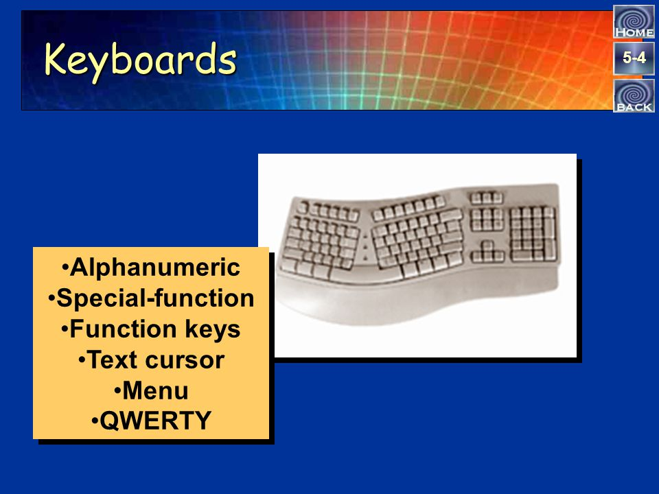 5-4 Keyboards Alphanumeric Special-function Function keys Text cursor Menu QWERTY Alphanumeric Special-function Function keys Text cursor Menu QWERTY