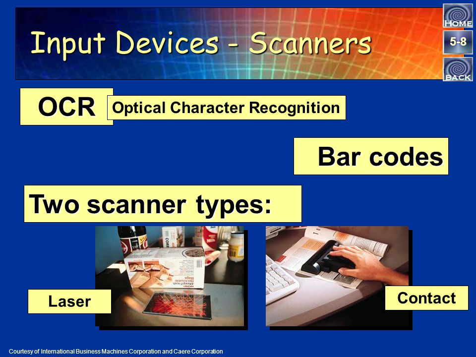 5-8 Input Devices - Scanners OCR Optical Character Recognition Bar codes Courtesy of International Business Machines Corporation and Caere Corporation Laser Contact Two scanner types: