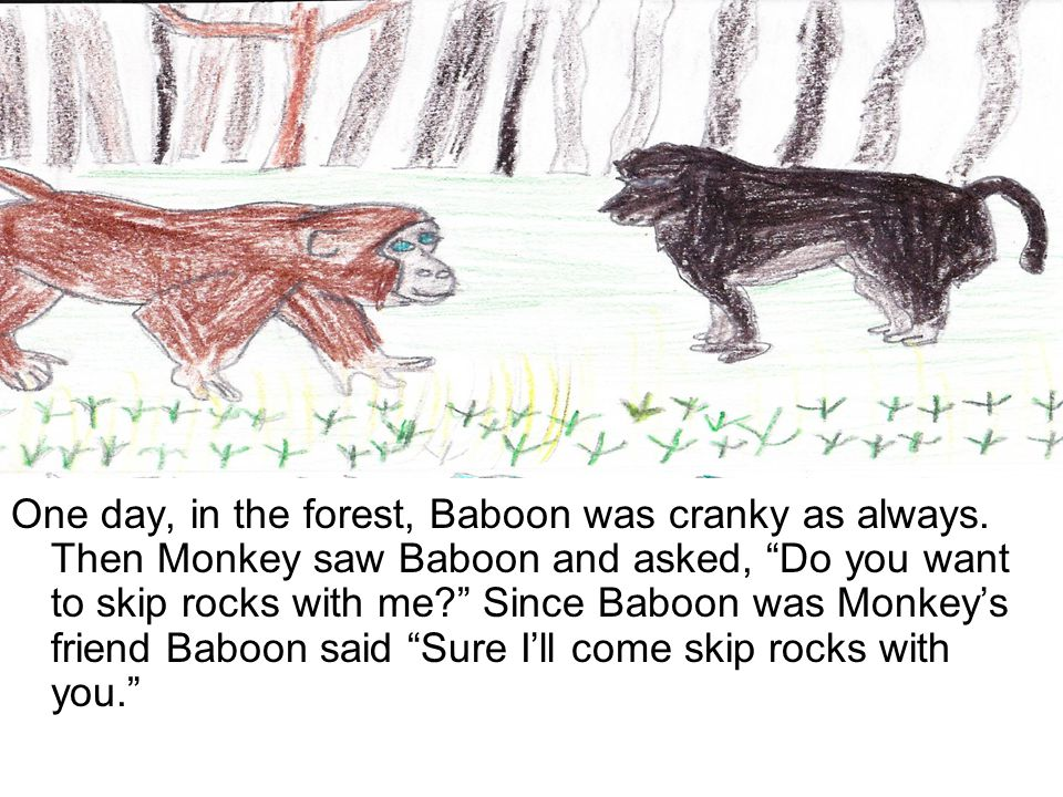 One day, in the forest, Baboon was cranky as always.
