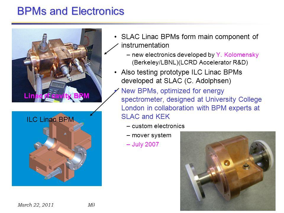 March 22, 2011Mike Hildreth – ALCPG 2011, Beam Instrumentation BPMs and Electronics Linac rf cavity BPM ILC Linac BPM SLAC Linac BPMs form main component of instrumentation –new electronics developed by Y.
