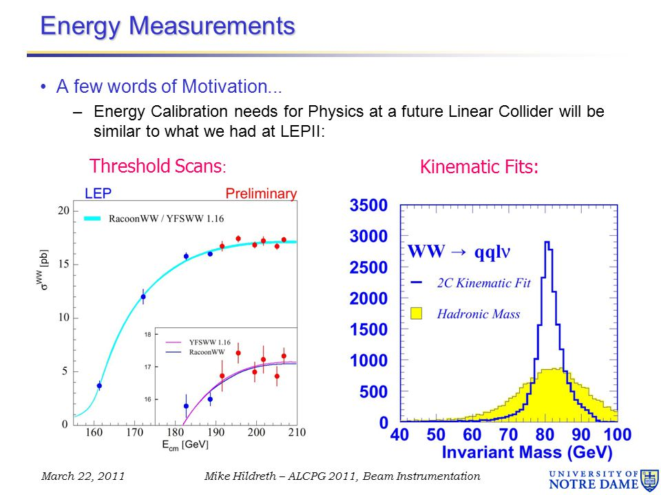 March 22, 2011Mike Hildreth – ALCPG 2011, Beam Instrumentation Energy Measurements A few words of Motivation...