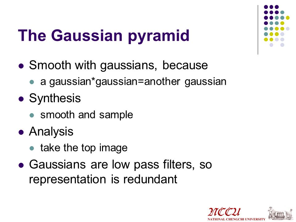 The Gaussian pyramid Smooth with gaussians, because a gaussian*gaussian=another gaussian Synthesis smooth and sample Analysis take the top image Gaussians are low pass filters, so representation is redundant