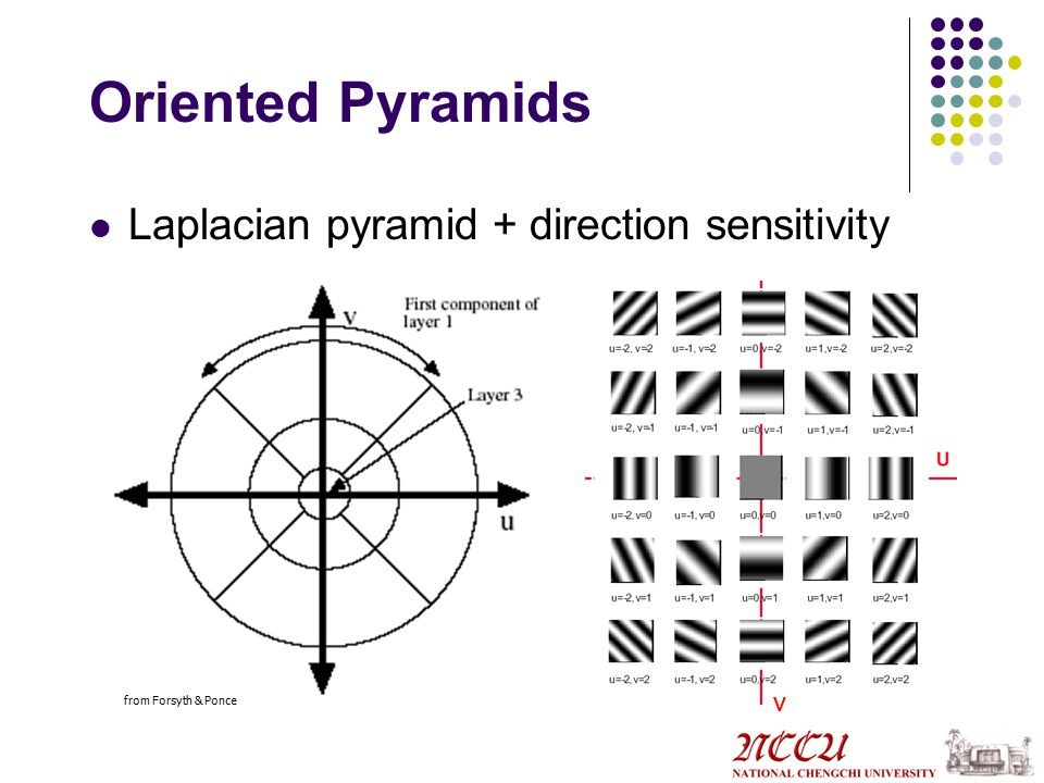 Oriented Pyramids Laplacian pyramid + direction sensitivity v from Forsyth & Ponce