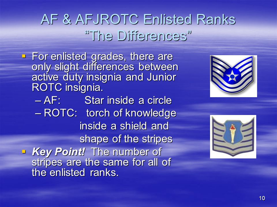 """10 AF & AFJROTC Enlisted Ranks """"The Differences""""  For enlisted grades, there are only slight differences between active duty insignia and Junior ROTC"""
