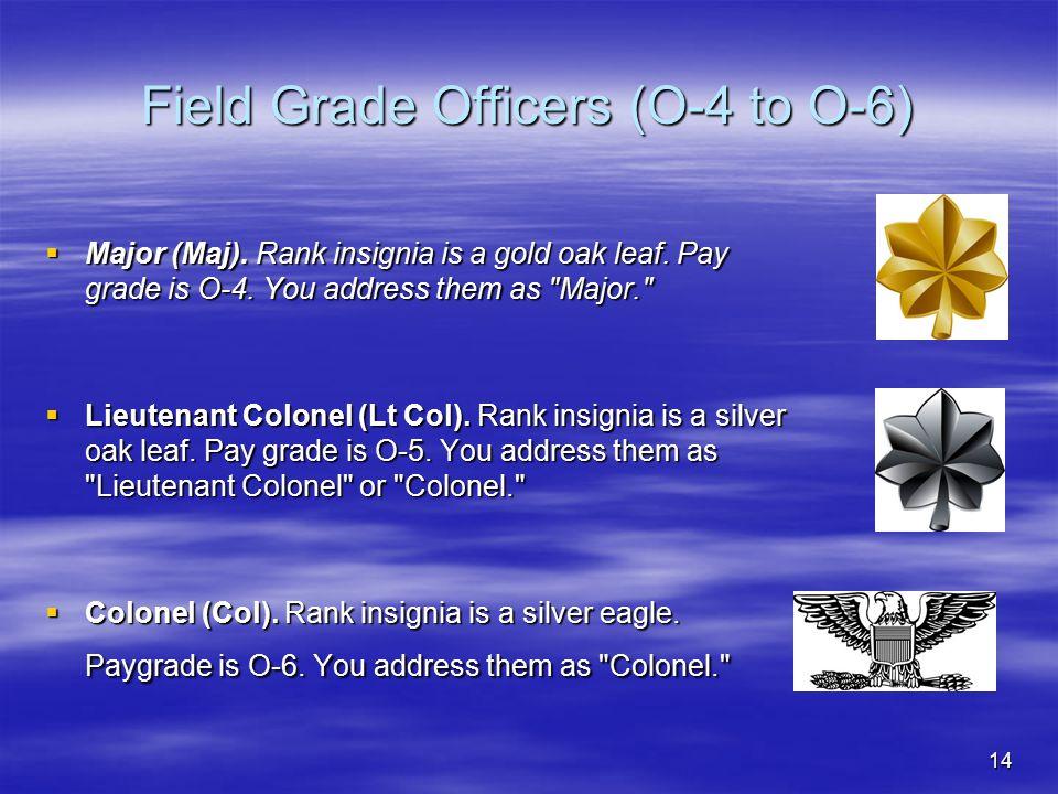 14 Field Grade Officers (O-4 to O-6)  Major (Maj). Rank insignia is a gold oak leaf. Pay grade is O-4. You address them as