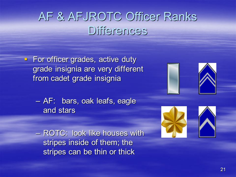 21 AF & AFJROTC Officer Ranks Differences  For officer grades, active duty grade insignia are very different from cadet grade insignia –AF: bars, oak
