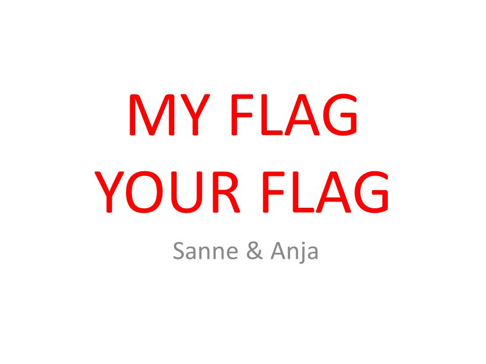 MY FLAG YOUR FLAG Sanne & Anja