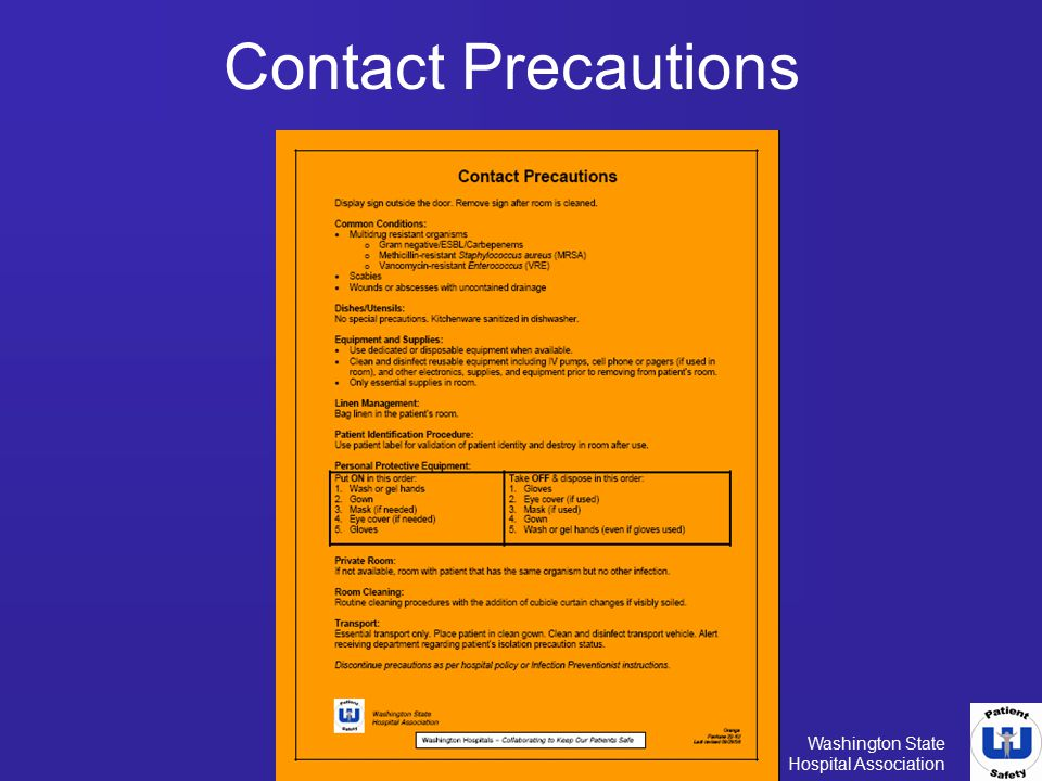 Washington State Hospital Association Contact Precautions