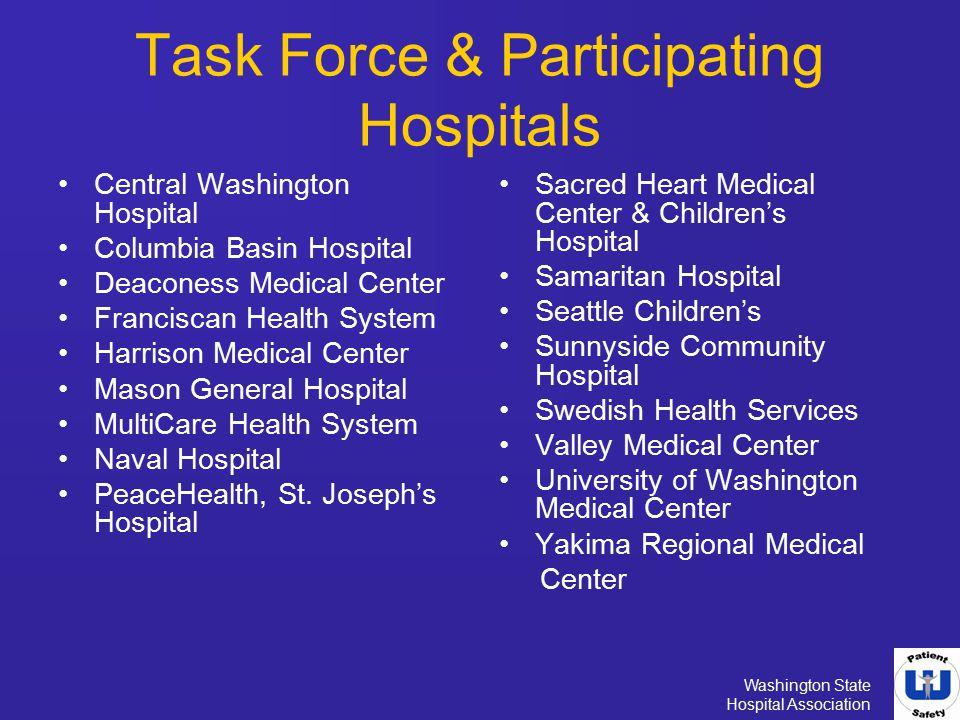 Washington State Hospital Association Task Force & Participating Hospitals Central Washington Hospital Columbia Basin Hospital Deaconess Medical Cente