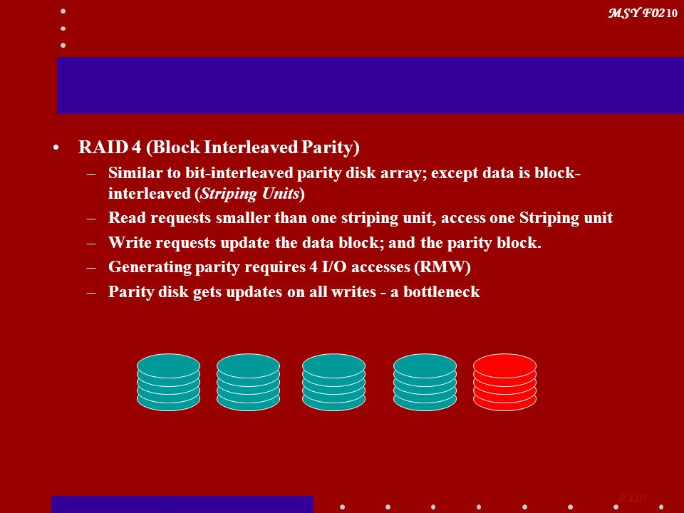 MSY F02 10 RAID 4 (Block Interleaved Parity) –Similar to bit-interleaved parity disk array; except data is block- interleaved (Striping Units) –Read r