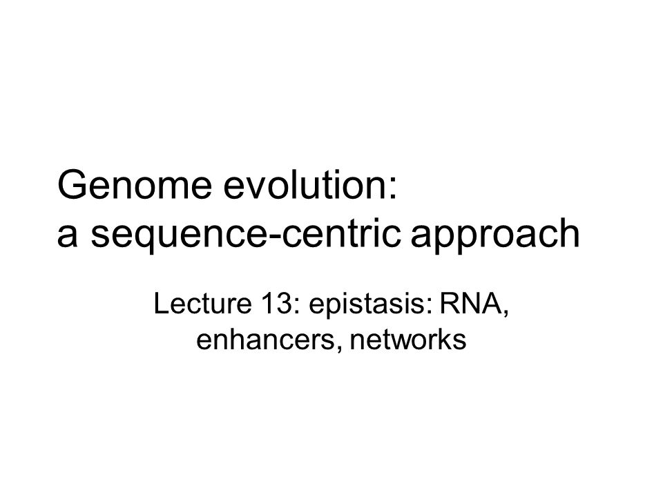Genome evolution: a sequence-centric approach Lecture 13: epistasis: RNA, enhancers, networks