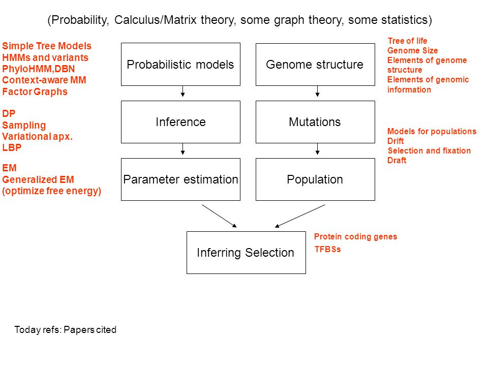 Probabilistic models Inference Parameter estimation Genome structure Mutations Population Inferring Selection (Probability, Calculus/Matrix theory, so