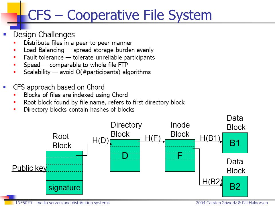 2004 Carsten Griwodz & Pål Halvorsen INF5070 – media servers and distribution systems CFS – Cooperative File System  Design Challenges  Distribute files in a peer-to-peer manner  Load Balancing — spread storage burden evenly  Fault tolerance — tolerate unreliable participants  Speed — comparable to whole-file FTP  Scalability — avoid O(#participants) algorithms  CFS approach based on Chord  Blocks of files are indexed using Chord  Root block found by file name, refers to first directory block  Directory blocks contain hashes of blocks DF B1 B2 Public key Root Block signature Directory Block Inode Block Data Block Data Block H(D) H(F)H(B1) H(B2)