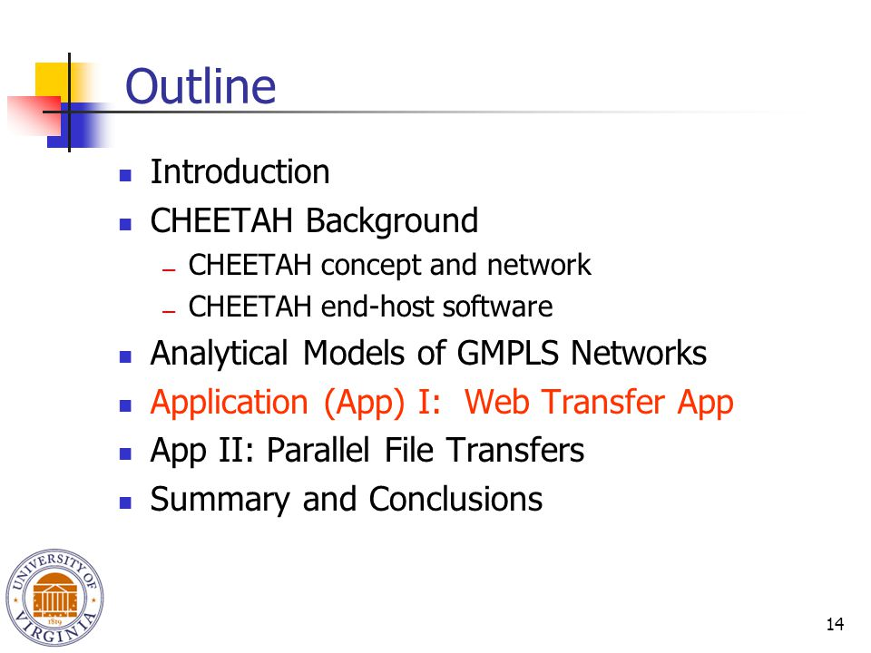 14 Outline Introduction CHEETAH Background ― CHEETAH concept and network ― CHEETAH end-host software Analytical Models of GMPLS Networks Application (App) I: Web Transfer App App II: Parallel File Transfers Summary and Conclusions