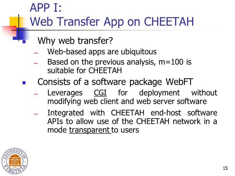 15 APP I: Web Transfer App on CHEETAH Why web transfer.