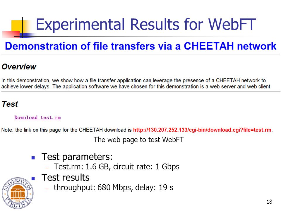 18 Experimental Results for WebFT The web page to test WebFT Test parameters: ― Test.rm: 1.6 GB, circuit rate: 1 Gbps Test results ― throughput: 680 M