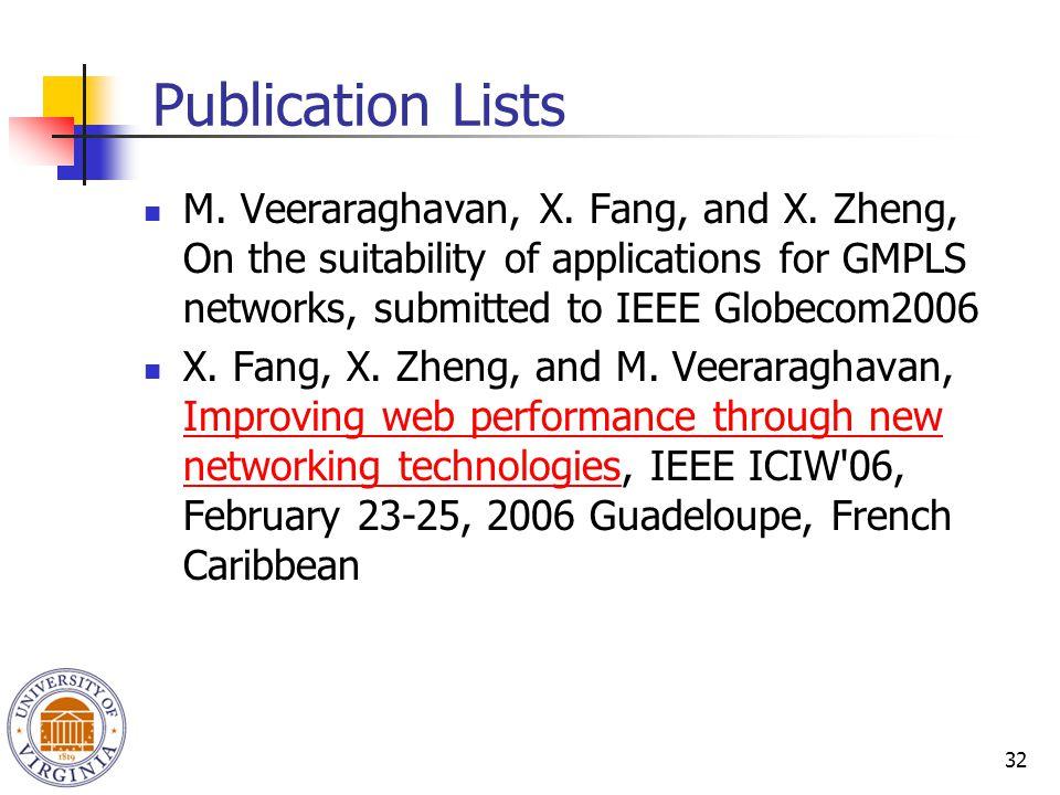 32 Publication Lists M. Veeraraghavan, X. Fang, and X.