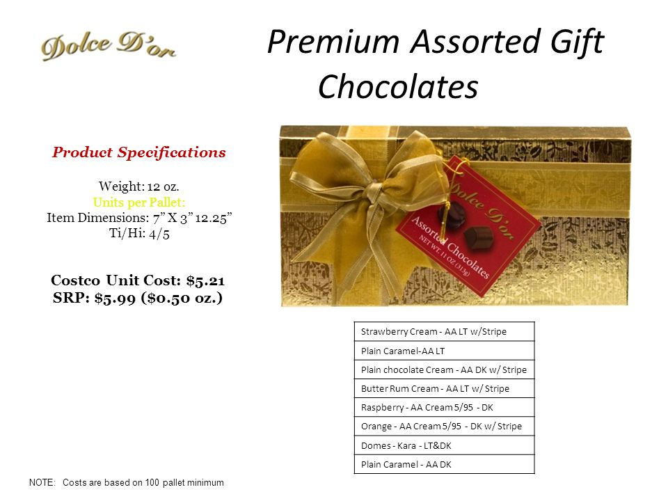 Premium Assorted Gift Chocolates Costco Unit Cost: $5.21 SRP: $5.99 ($0.50 oz.) Product Specifications Weight: 12 oz.