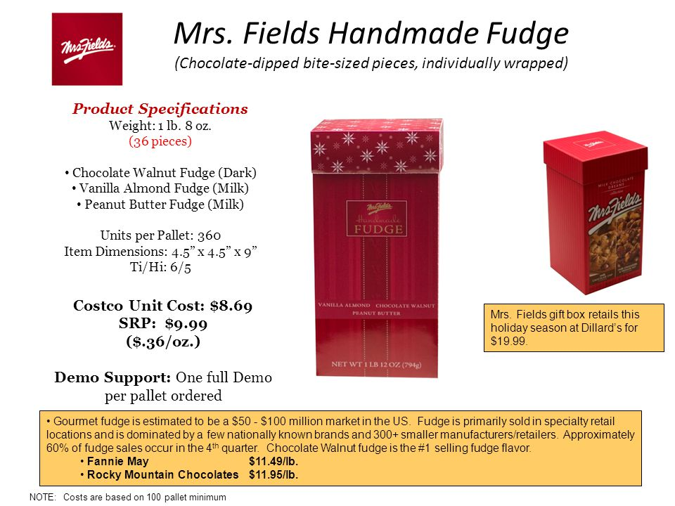 Mrs. Fields Handmade Fudge (Chocolate-dipped bite-sized pieces, individually wrapped) Product Specifications Weight: 1 lb. 8 oz. (36 pieces) Chocolate