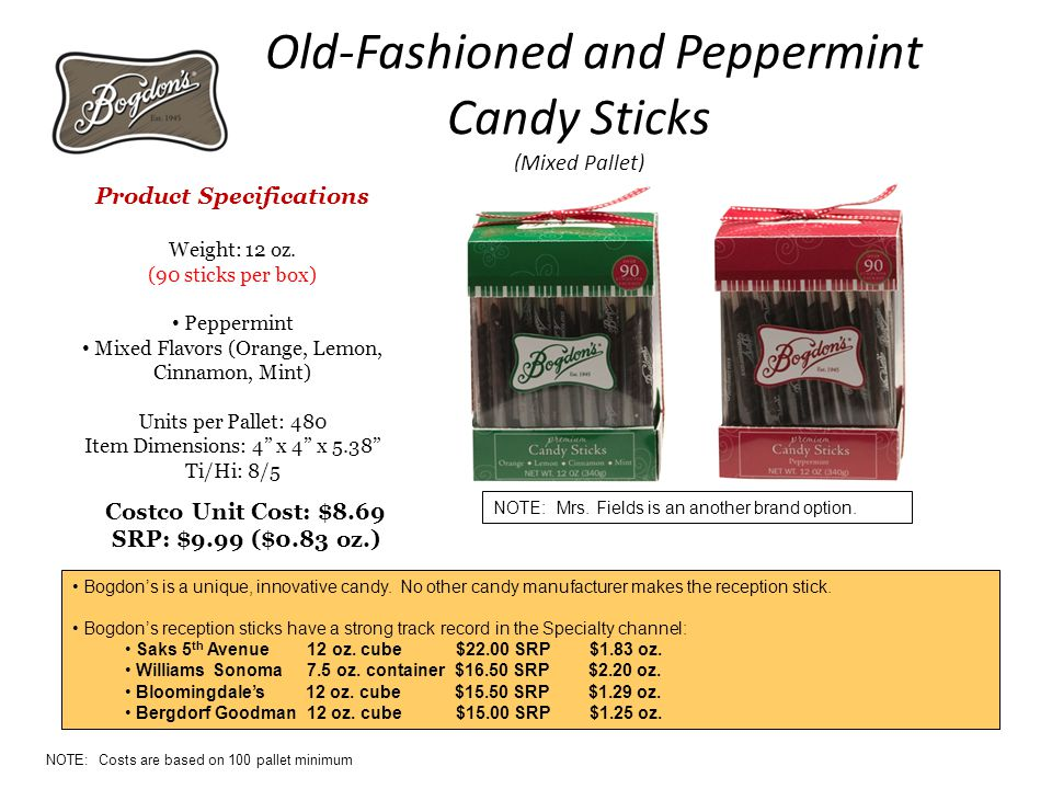 Old-Fashioned and Peppermint Candy Sticks (Mixed Pallet) Product Specifications Weight: 12 oz.