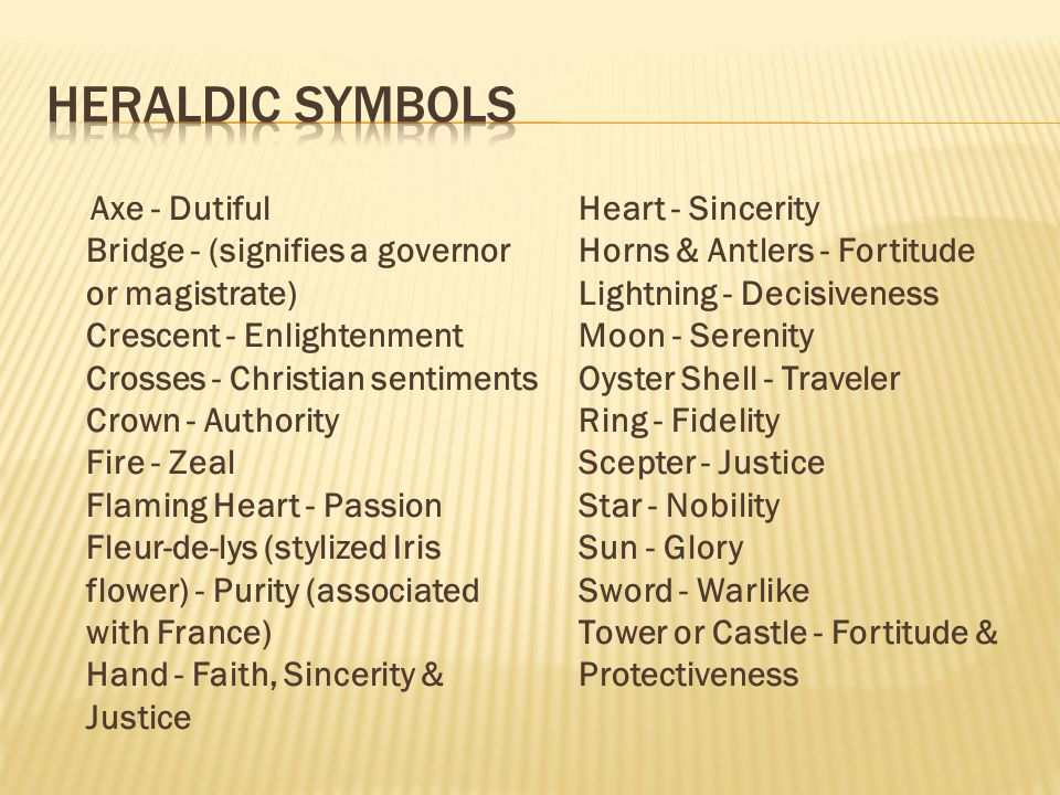 Axe - Dutiful Bridge - (signifies a governor or magistrate) Crescent - Enlightenment Crosses - Christian sentiments Crown - Authority Fire - Zeal Flam