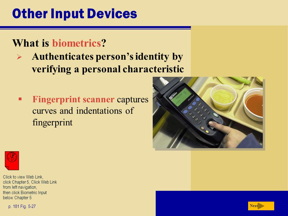 Other Input Devices What is biometrics. p. 181 Fig.