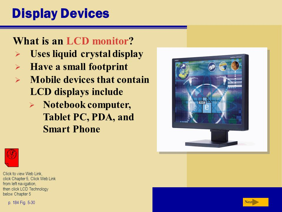 Display Devices What is an LCD monitor. p. 184 Fig.
