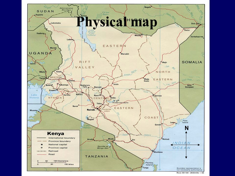 Political Map Bordering Countries Somalia Ethiopia Sudan Uganda Tanzania N