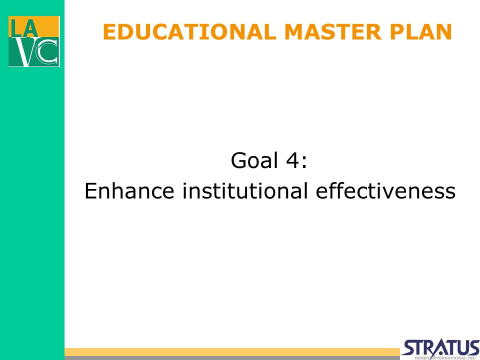 EDUCATIONAL MASTER PLAN Goal 4: Enhance institutional effectiveness
