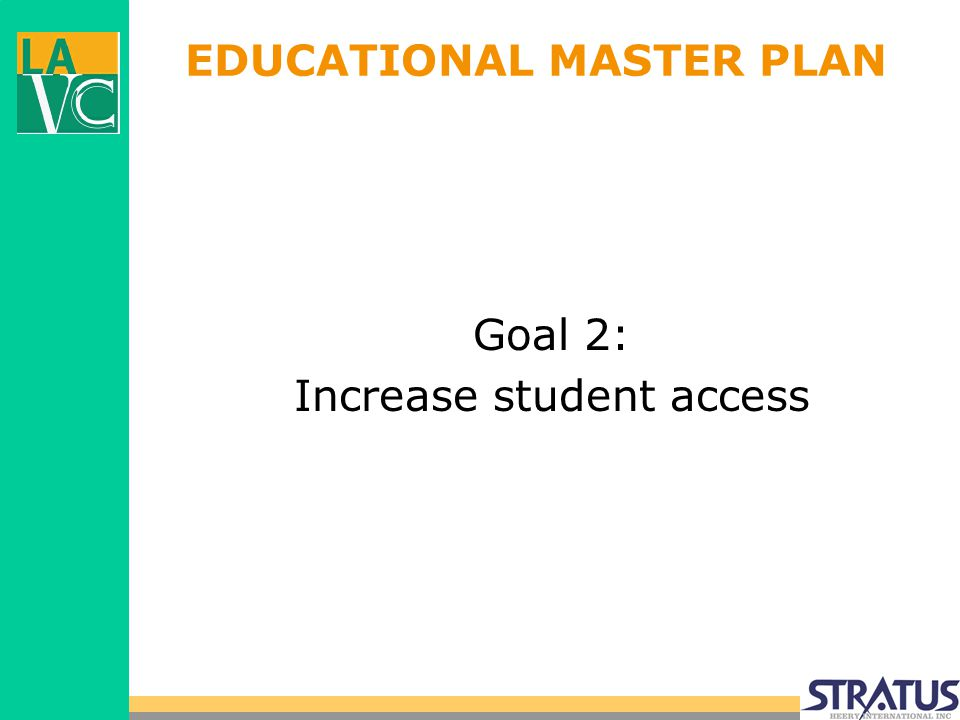 EDUCATIONAL MASTER PLAN Goal 2: Increase student access