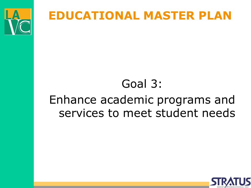 EDUCATIONAL MASTER PLAN Goal 3: Enhance academic programs and services to meet student needs