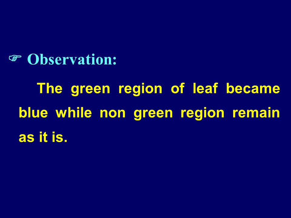  Observation: The green region of leaf became blue while non green region remain as it is.