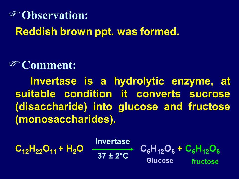  Observation: Reddish brown ppt. was formed.