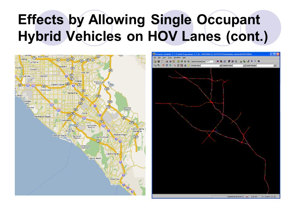Effects by Allowing Single Occupant Hybrid Vehicles on HOV Lanes (cont.)
