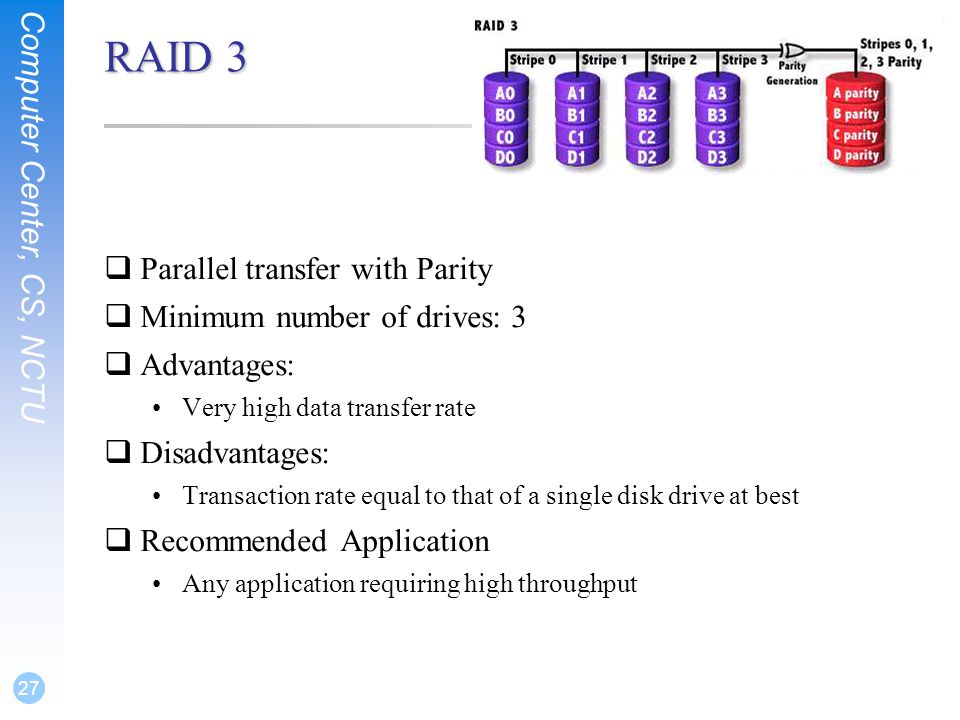 Computer Center, CS, NCTU 27 RAID 3  Parallel transfer with Parity  Minimum number of drives: 3  Advantages: Very high data transfer rate  Disadvantages: Transaction rate equal to that of a single disk drive at best  Recommended Application Any application requiring high throughput