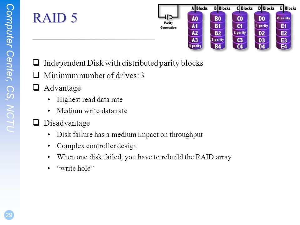 Computer Center, CS, NCTU 29 RAID 5  Independent Disk with distributed parity blocks  Minimum number of drives: 3  Advantage Highest read data rate Medium write data rate  Disadvantage Disk failure has a medium impact on throughput Complex controller design When one disk failed, you have to rebuild the RAID array write hole