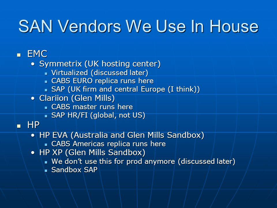 SAN Vendors We Use In House EMC EMC Symmetrix (UK hosting center)Symmetrix (UK hosting center) Virtualized (discussed later) Virtualized (discussed later) CABS EURO replica runs here CABS EURO replica runs here SAP (UK firm and central Europe (I think)) SAP (UK firm and central Europe (I think)) Clariion (Glen Mills)Clariion (Glen Mills) CABS master runs here CABS master runs here SAP HR/FI (global, not US) SAP HR/FI (global, not US) HP HP HP EVA (Australia and Glen Mills Sandbox)HP EVA (Australia and Glen Mills Sandbox) CABS Americas replica runs here CABS Americas replica runs here HP XP (Glen Mills Sandbox)HP XP (Glen Mills Sandbox) We don't use this for prod anymore (discussed later) We don't use this for prod anymore (discussed later) Sandbox SAP Sandbox SAP