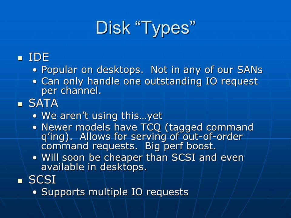 Disk Types IDE IDE Popular on desktops. Not in any of our SANsPopular on desktops.