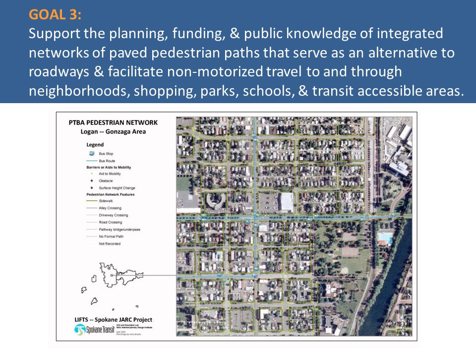 GOAL 3: Support the planning, funding, & public knowledge of integrated networks of paved pedestrian paths that serve as an alternative to roadways & facilitate non-motorized travel to and through neighborhoods, shopping, parks, schools, & transit accessible areas.