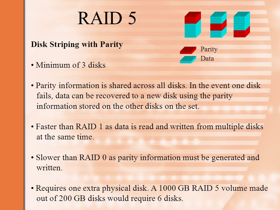 RAID 5 Disk Striping with Parity Minimum of 3 disks Parity information is shared across all disks.