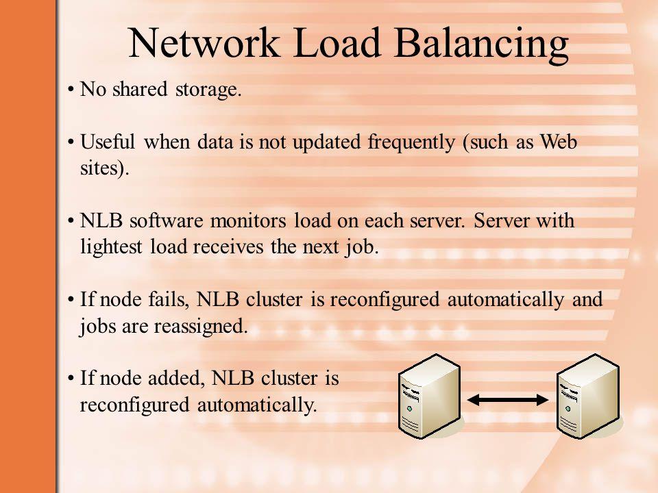 Network Load Balancing No shared storage.