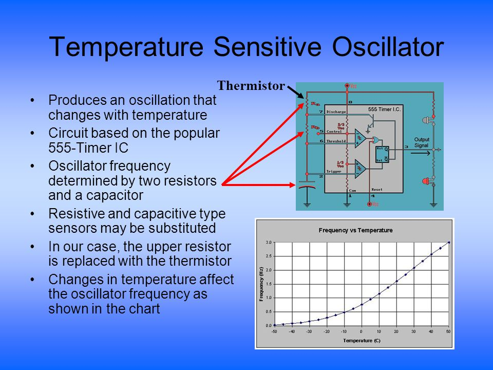 Temperature Sensitive Oscillator Produces an oscillation that changes with temperature Circuit based on the popular 555-Timer IC Oscillator frequency