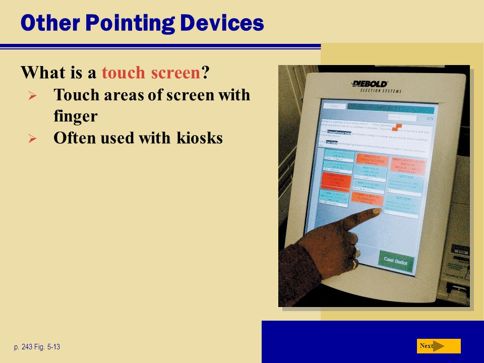Other Pointing Devices What is a touch screen.p. 243 Fig.