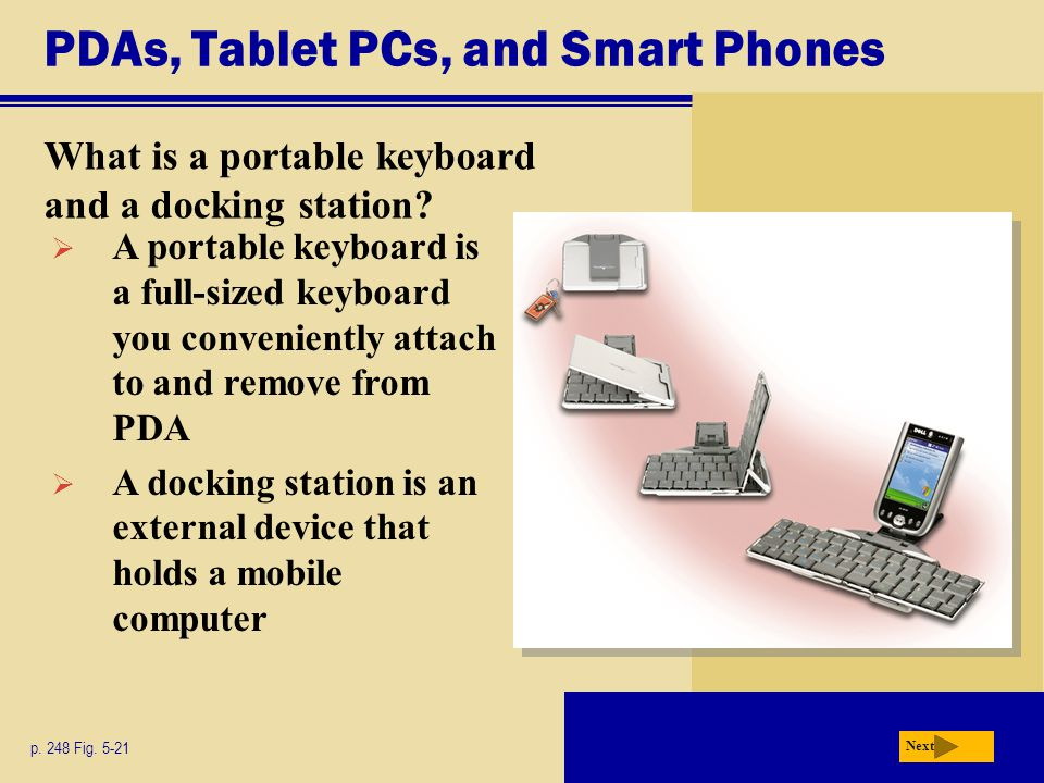 PDAs, Tablet PCs, and Smart Phones What is a portable keyboard and a docking station.