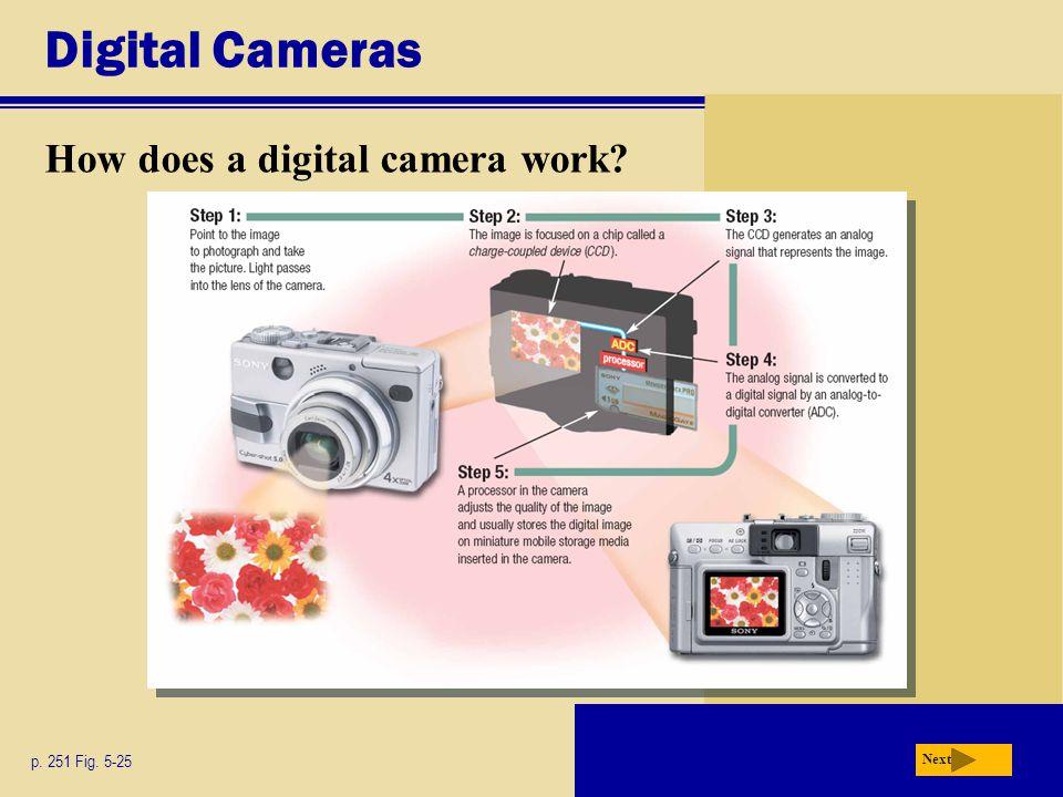 Digital Cameras How does a digital camera work p. 251 Fig. 5-25 Next