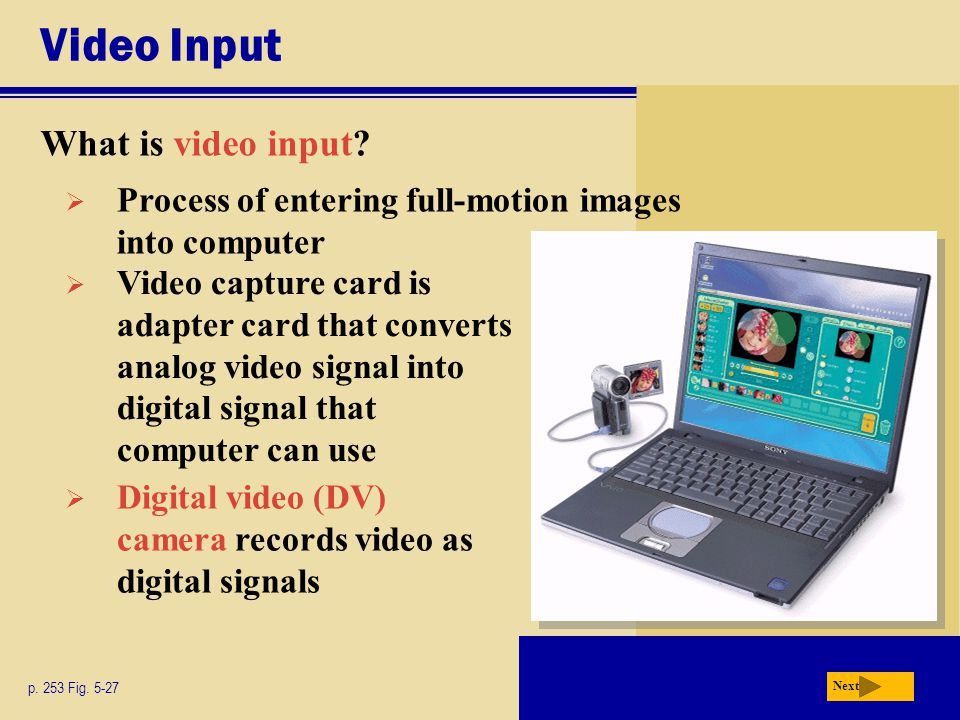 Video Input What is video input.p. 253 Fig.